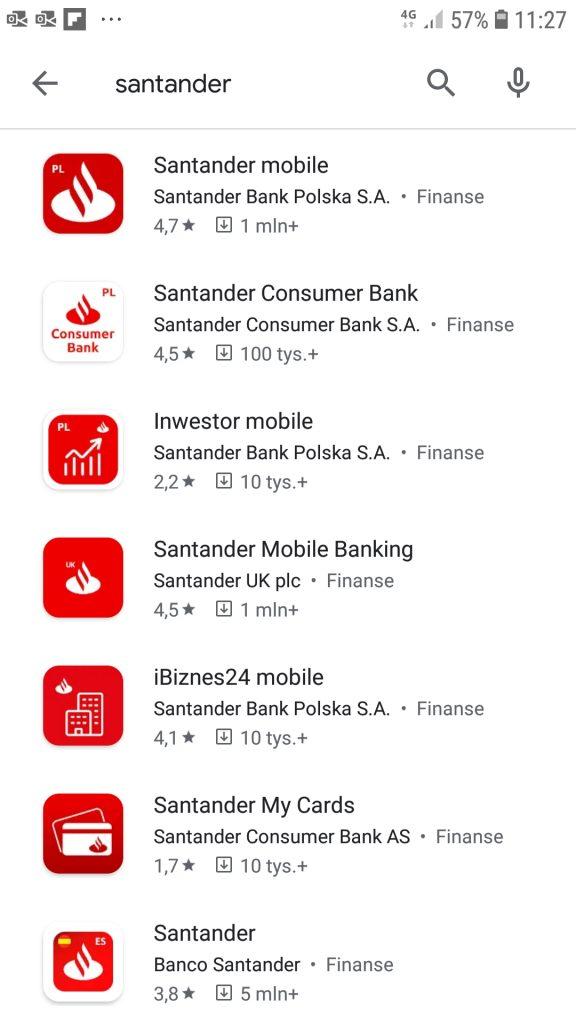 Aplikacja Santander Mobile w Google Play