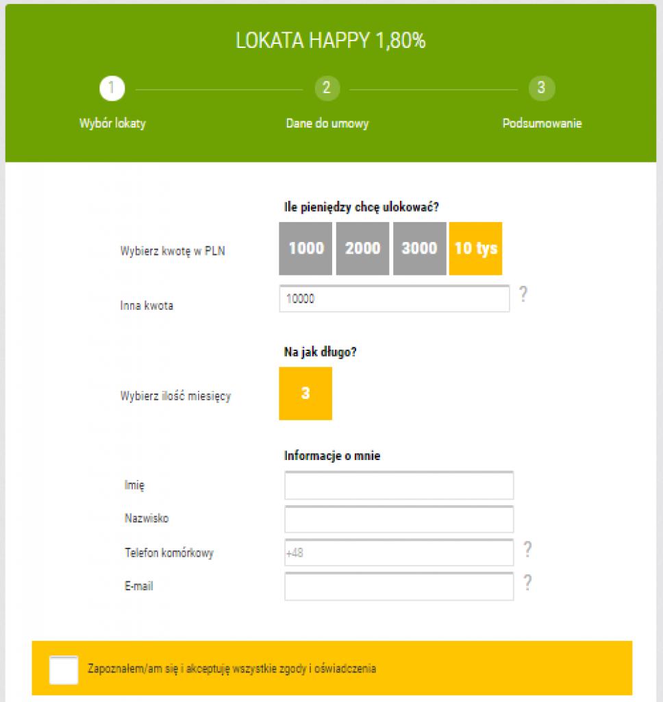 Formularz lokaty Happy w Idea Bank