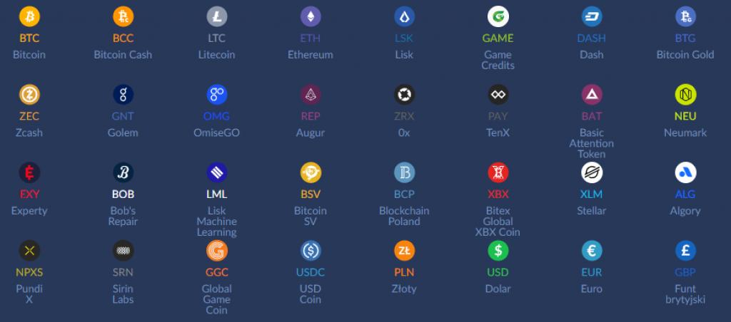 kryptowaluty na bitbay: Bitcoin (BTC), Ethereum (ETH), Ripple (XRP), Lisk (LSK), Litecoin (LTC),  Bitcoin Gold (BTG), Bitcoin Cash (BCC), Dash (DASH), Augur (REP) Tron (TRX)