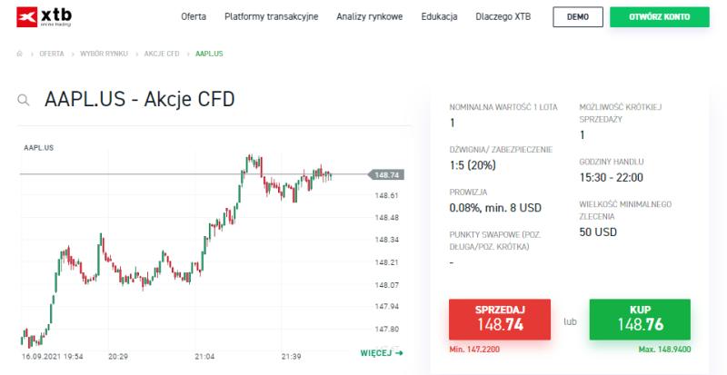 Kontrakt CFD na akcje Apple w domu maklerskim XTB